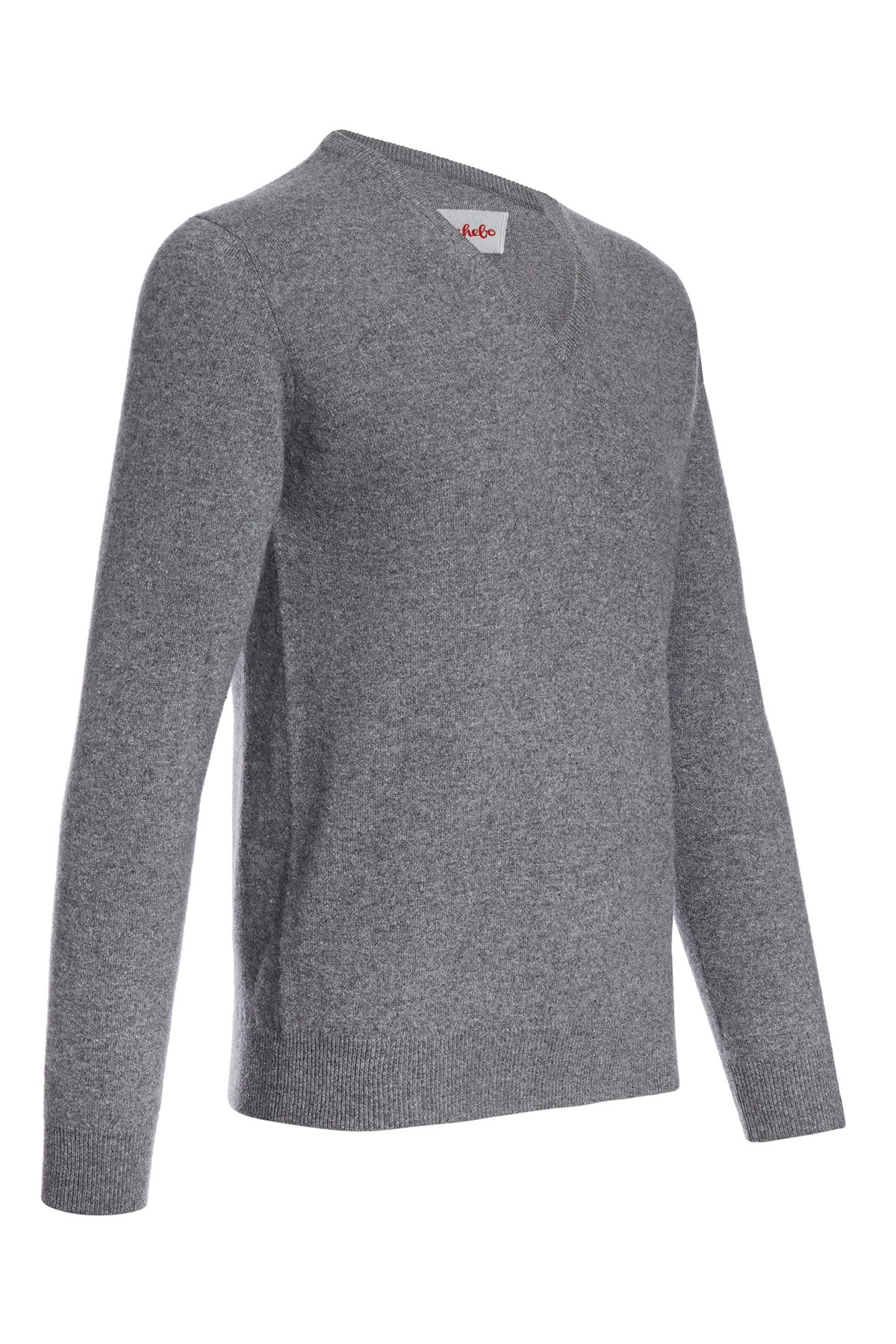 Men's V-neck cashmere sweater derby grey