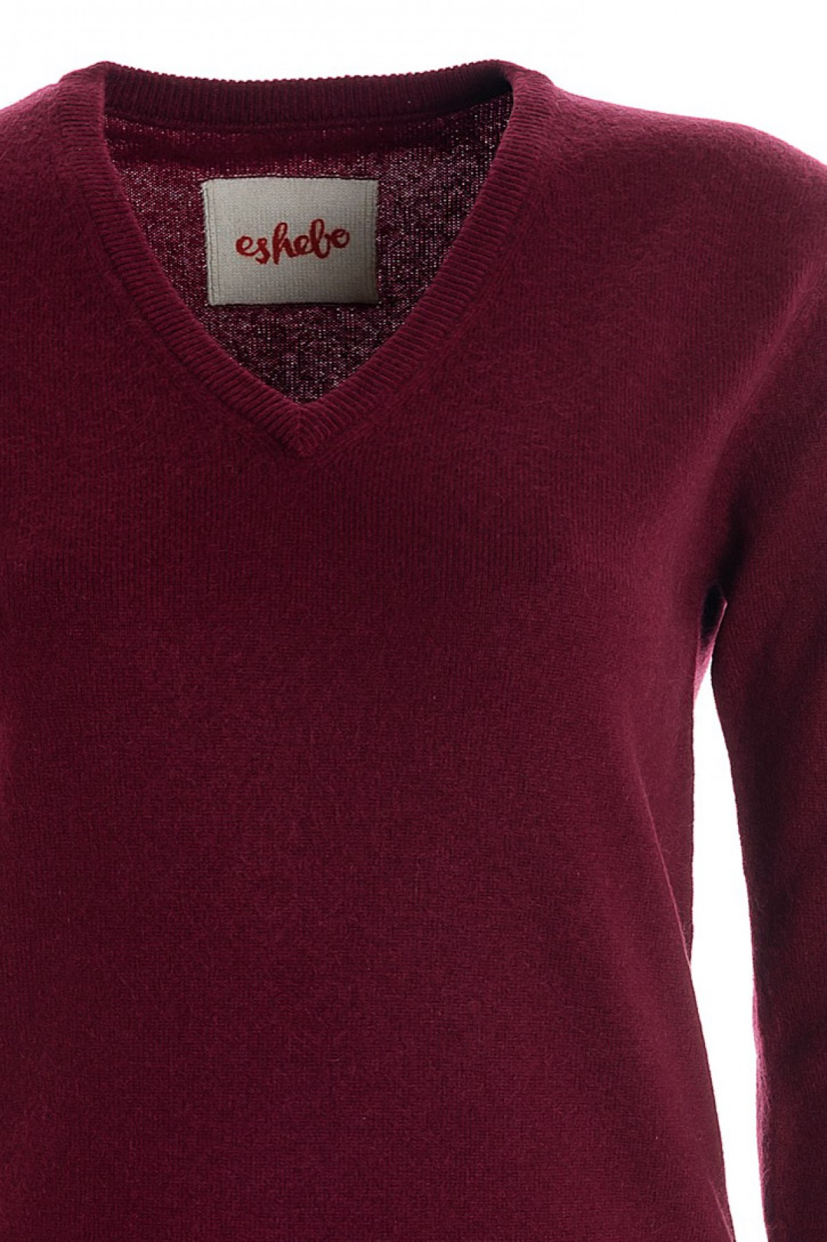 Women's cashmere V-neck sweater burgundy