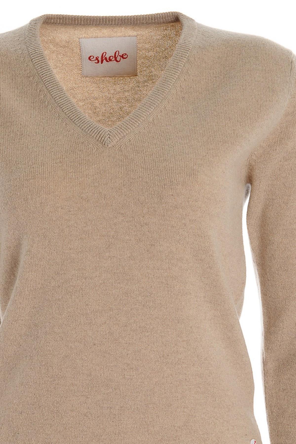 Women's cashmere V-neck sweater vicuna