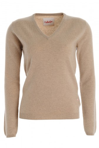Women's cashmere V-neck sweater vicuna