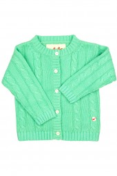 Cable knit cashmere jacket for babies mint