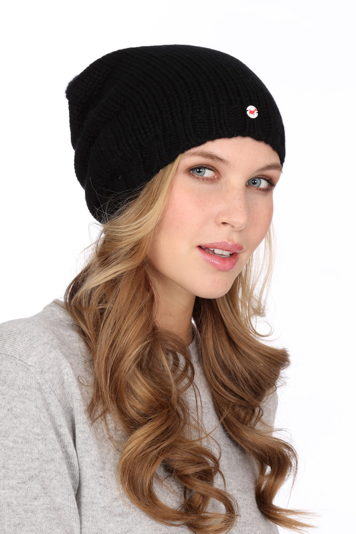 Coarsely knit cashmere cap black