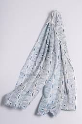 Ripp-Print Shawl moroccan blue