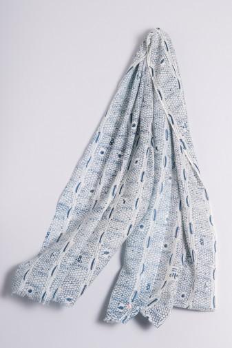Schal Ripp-Print moroccan blue