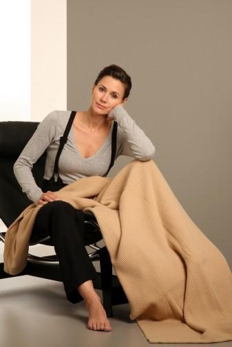 Cashmere blanket 110 × 210cm sand