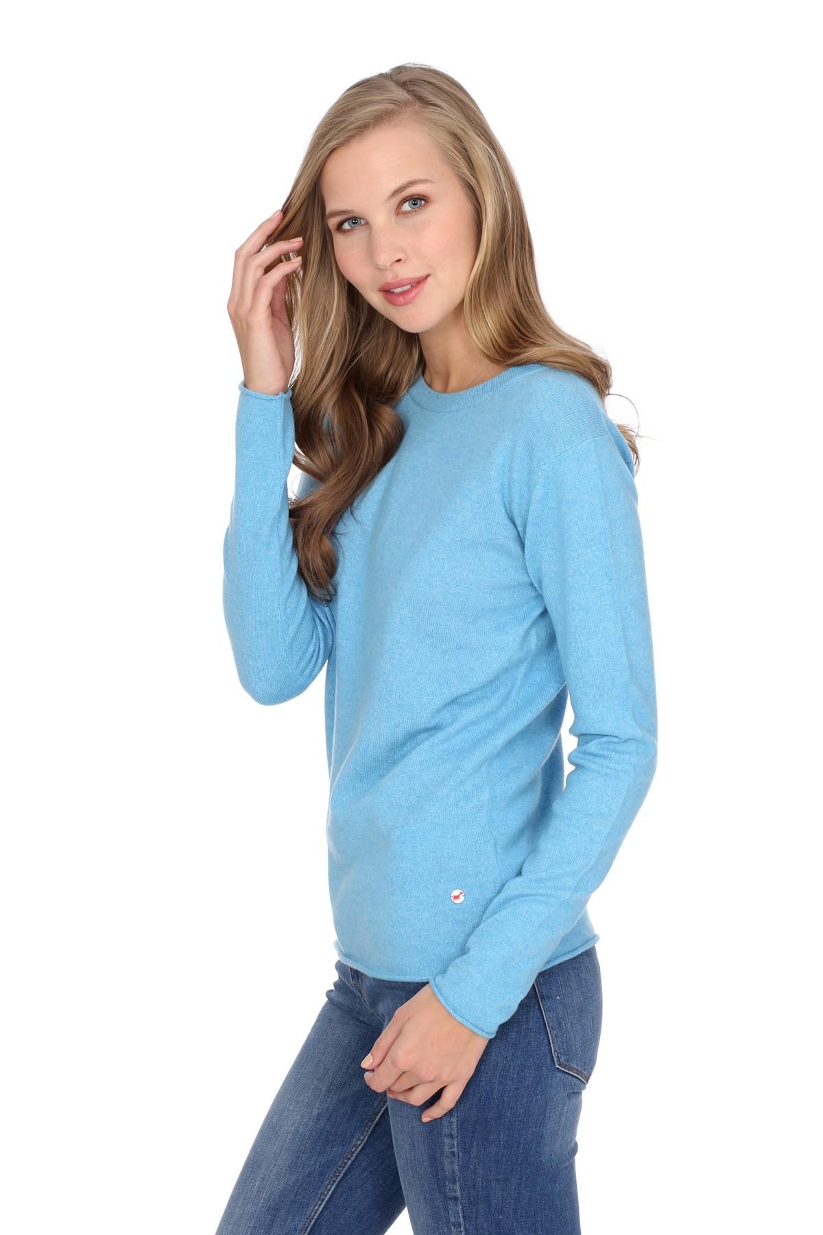 kaschmirpullover longsleeve air blue damen pullover. Black Bedroom Furniture Sets. Home Design Ideas