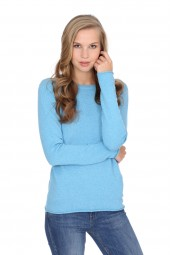 Women's long sleeve cashmere top air blue