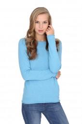 Women's long sleeve cashmere top air blue