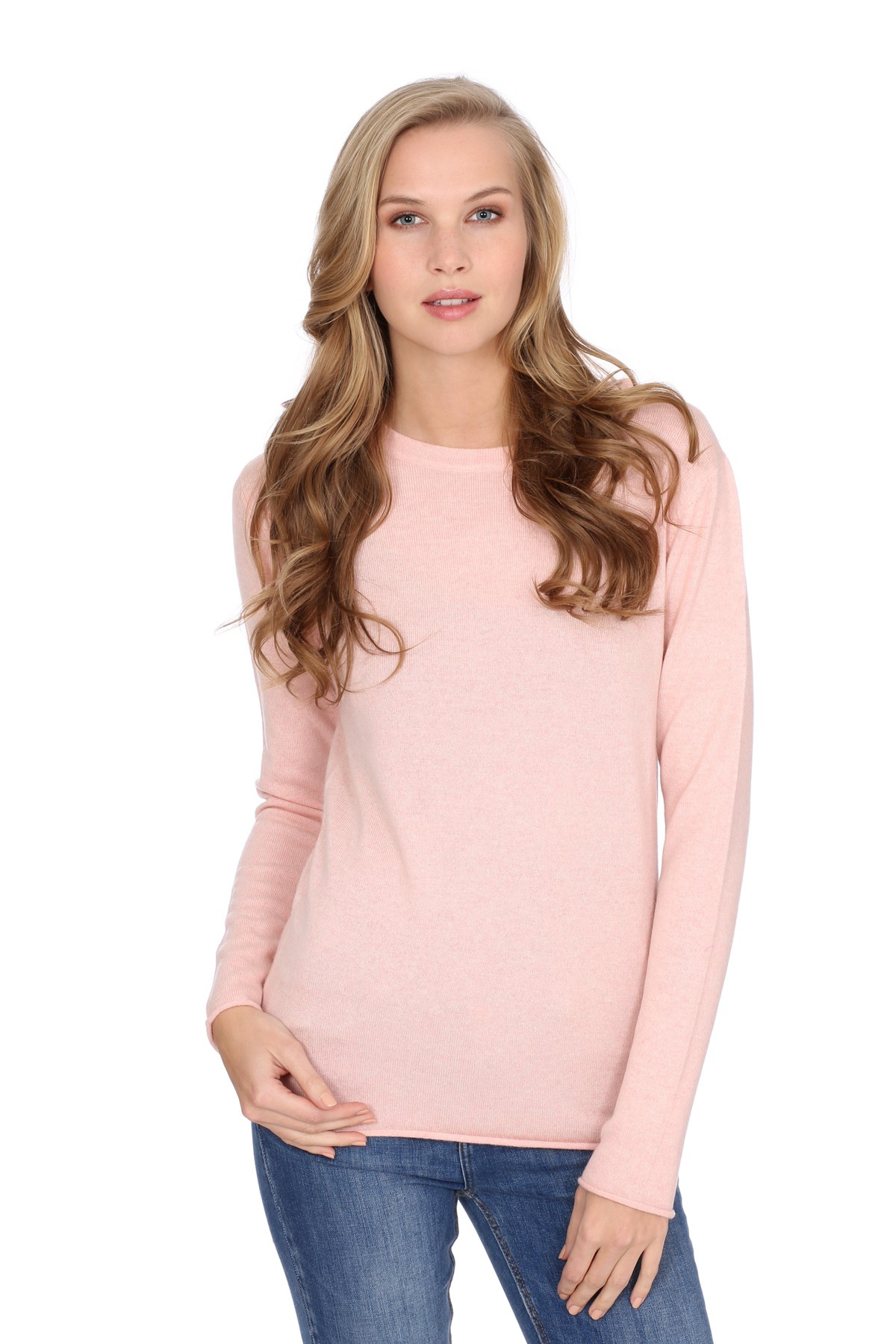 Women's long sleeve cashmere top baby pink