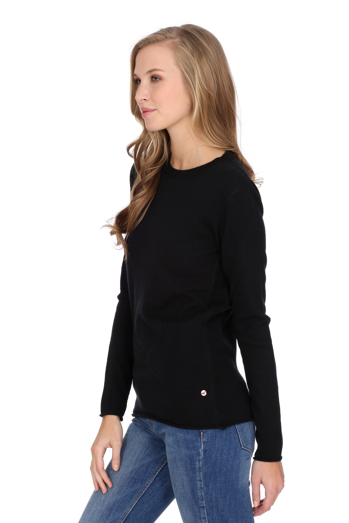Women's long sleeve cashmere top black