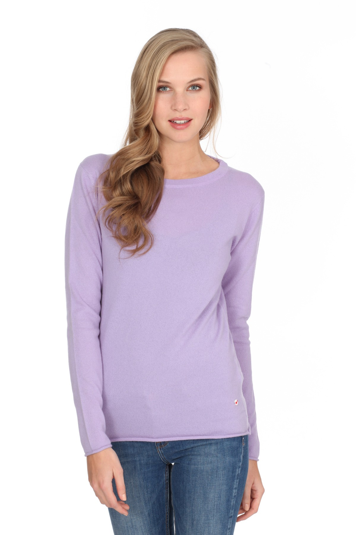 Women's long sleeve cashmere top lilac