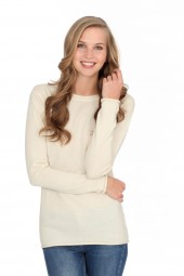 Women's long sleeve cashmere top offwhite