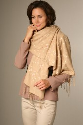 Embroidered Pashmina 70x200cm camel