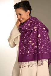 Embroidered Pashmina 70x200cm lila