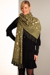 Embroidered Pashmina 70x200cm olive