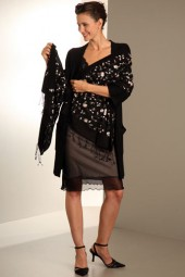 Embroidered Pashmina 70x200cm black