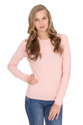 Women's round-neck cashmere sweater baby pink