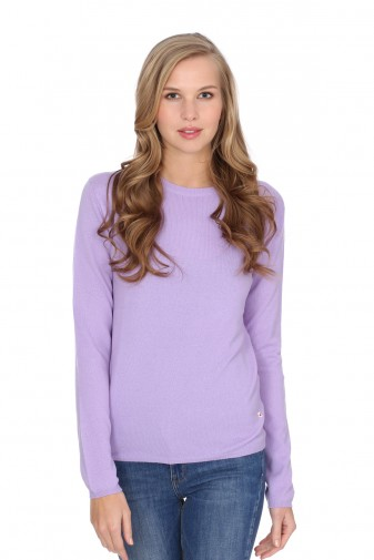 Women's round-neck cashmere sweater lilac