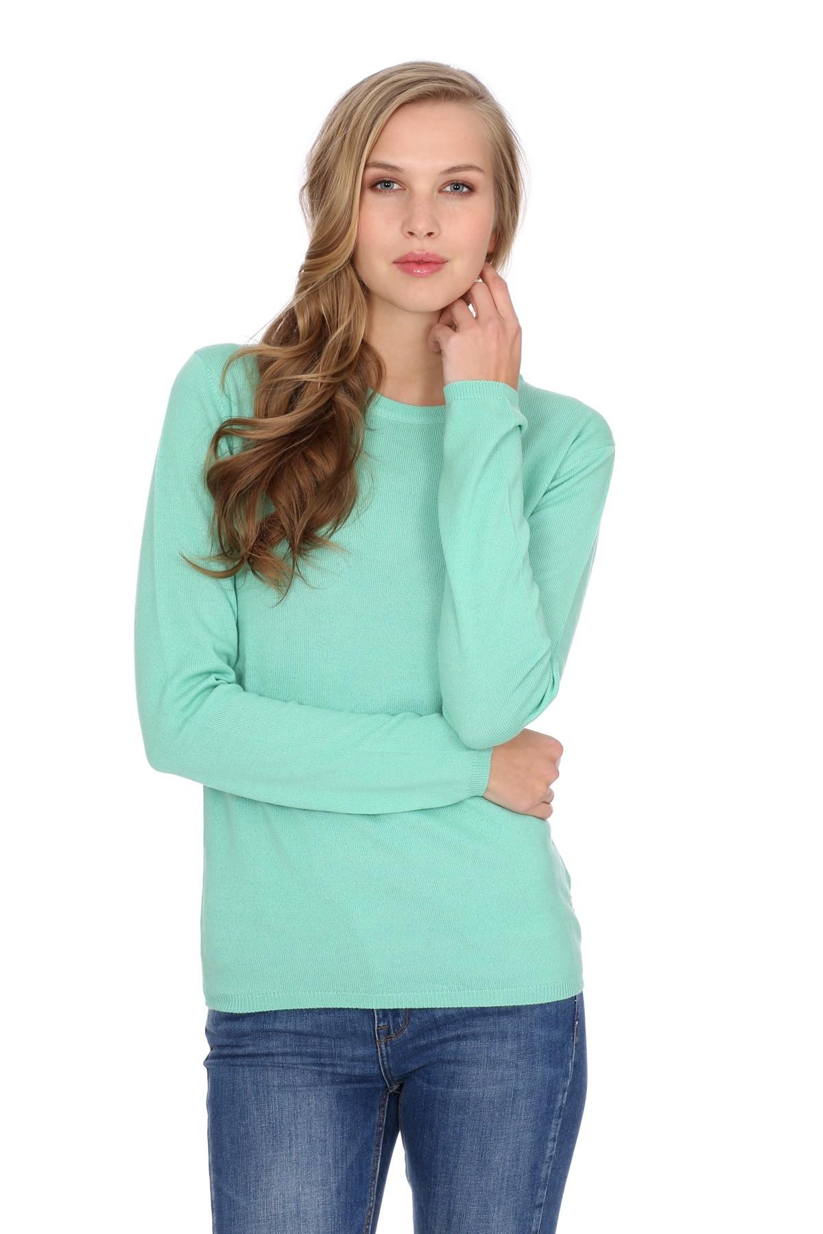 Women's round-neck cashmere sweater mint