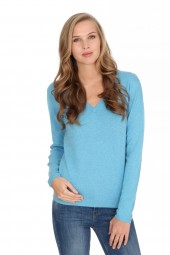 Women's cashmere V-neck sweater air blue