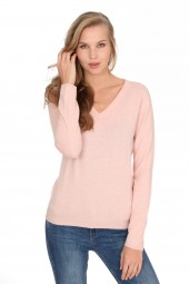 Women's cashmere V-neck sweater baby pink