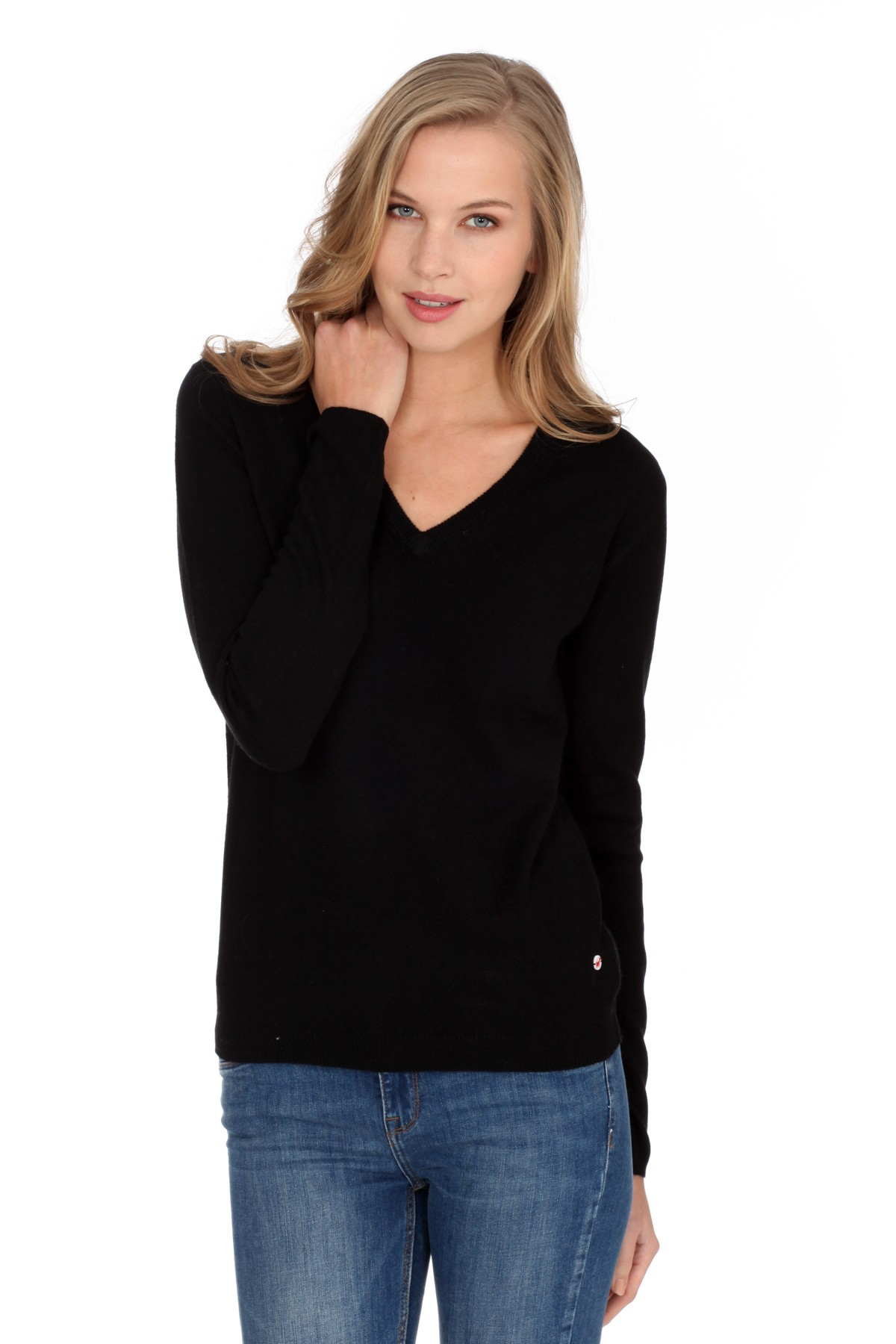Women's cashmere V-neck sweater black