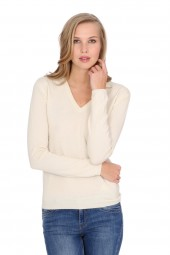 Women's cashmere V-neck sweater offwhite